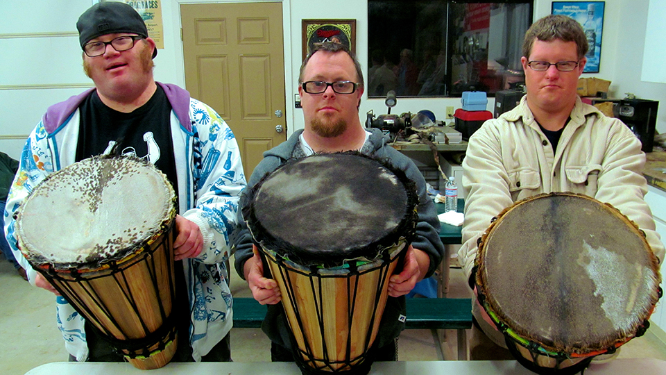 Jake, Josh and Drew at the Ashiko Drum Making Club